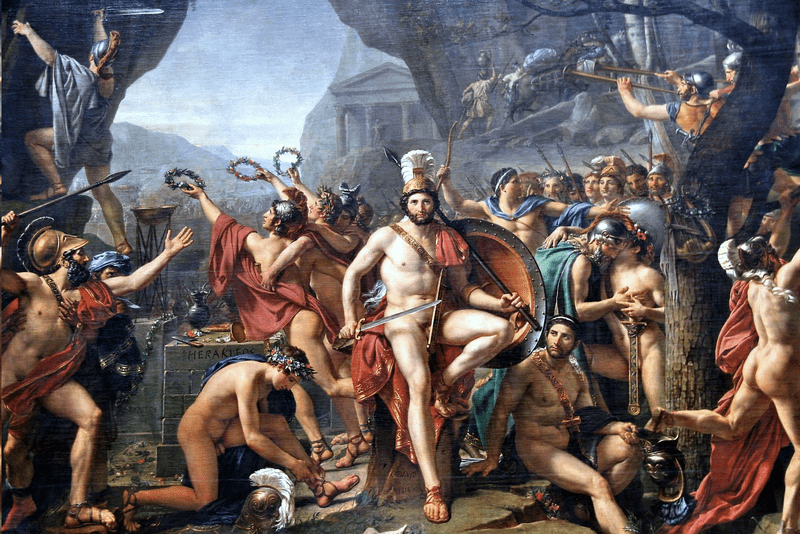 Batalla Termópilas Jacques-Louis David