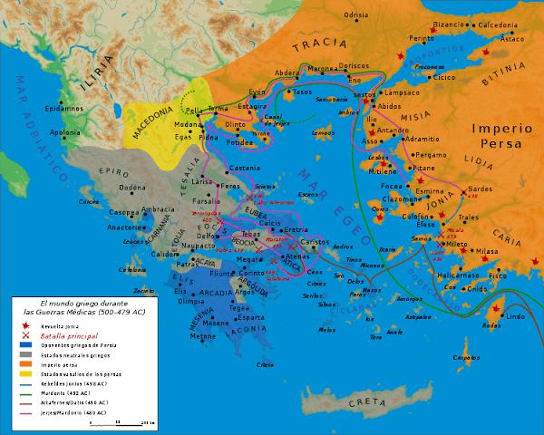 mapa guerras persas batalla termopilas