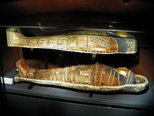 Momia en un sarcófago.