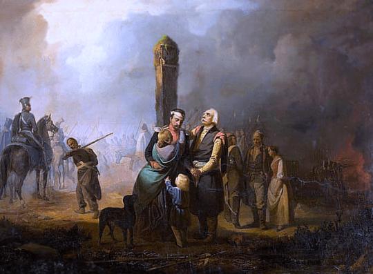 """Cruzando la frontera prusiana"", obra de Franciszek Faliński en 1831"