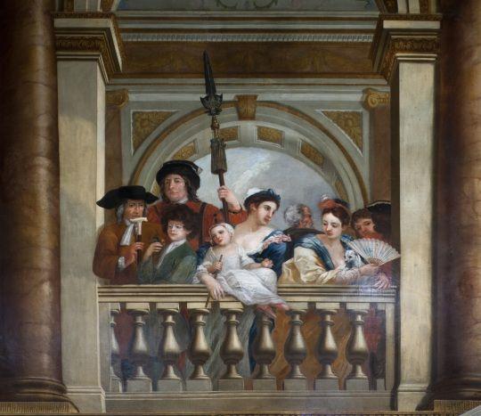 """Retrato del Rey Jorge con Peter, """"el niño salvaje"""" (el segundo comenzando por la izquierda)."""