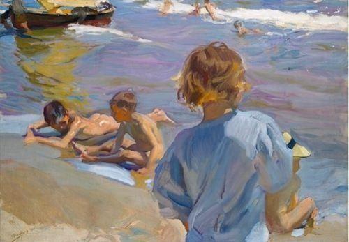 cuadro niños en la playa de sorolla