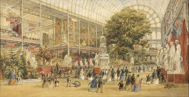 La reina Victoria inaugurando la Exposición Universal de 1851 en el Crystal Palace de Londres, Prior Thomas Albert, 1851, acuarela y guache.