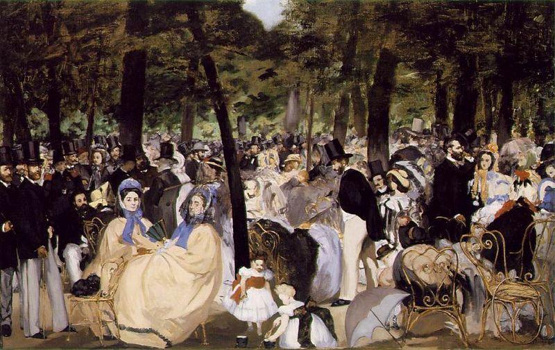 Música en las Tullerías, de Edouard Manet, 1862, óleo sobre lienzo, National Gallery de Londres. La imagen representa una escena cotidiana burguesa en una fiesta al aire libre, como es propio del estilo impresionista.