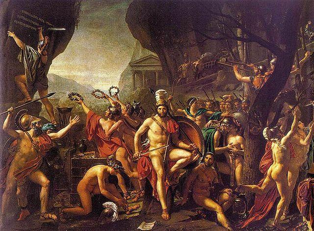 Leónidas en las Termópilas, de Jacq Louis David, pintor representativo del academicismo francés
