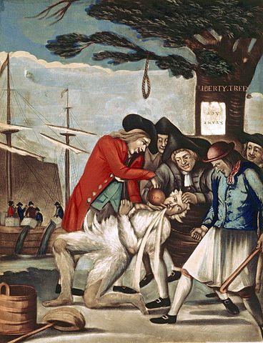 Bostonianos humillando a un aduanero, obra atribuída a Phillip Dawe, 1774