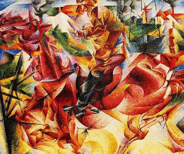 Elasticidad, Umberto boccioni, 1912, óleo sobre lienzo.