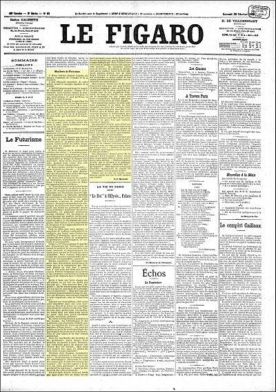 El Manifiesto Futurista en portada en el periódico Le Figaro