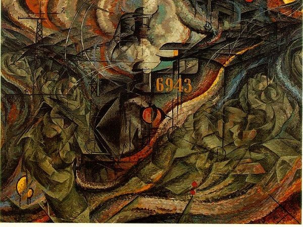 Los estados de la mente II: las despedidas, Umberto Boccioni, 1911, óleo sobre lienzo. Museo MoMA de Nueva York