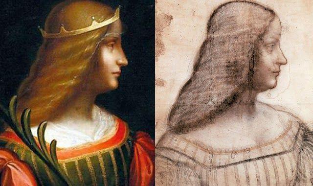 A la izquierda, retrato de Isabella D`Este, y a la derecha, su copia en carboncillo, ambos de Leonardo da Vinci