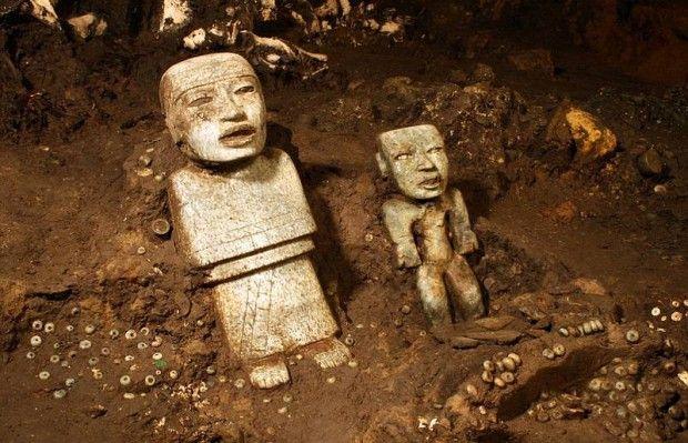Esculturas encontradas en Teotihuacán. Imagen: Proyecto Tlalocan-INAH