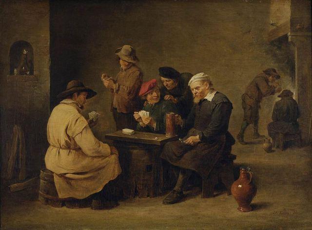 cuadro jugadores en la taberna teniers