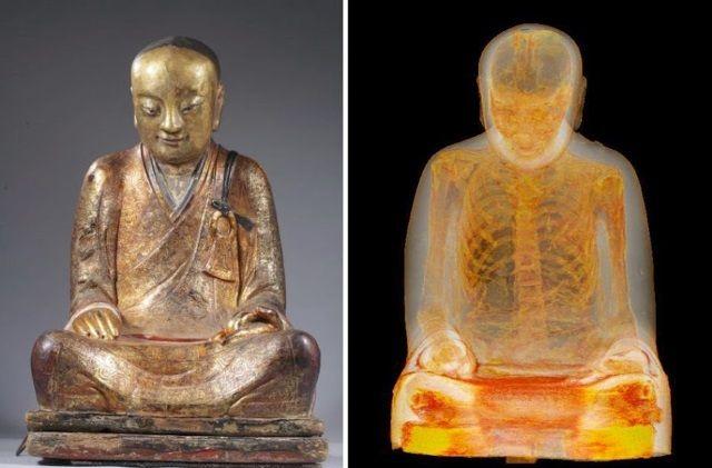 Un monje momificado se encontró dentro de una estatua de Buda. Crédito: M. Elsevier Stokmans