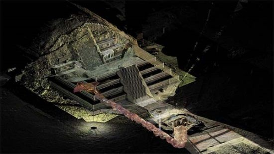 Encuentran un lago de mercurio líquido bajo una pirámide azteca.