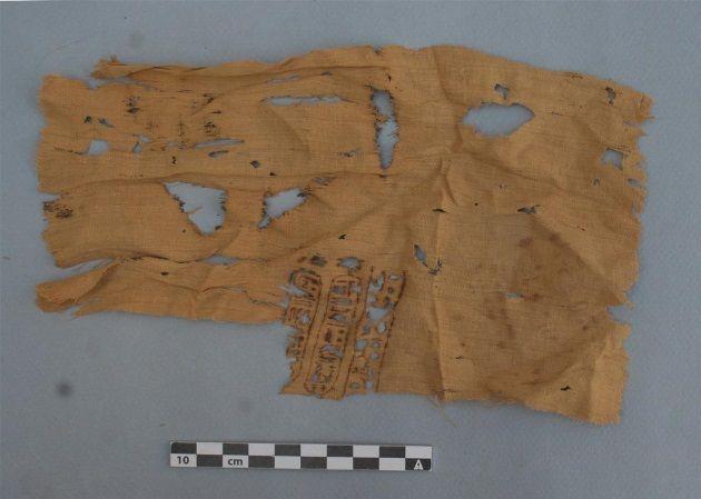 En este trozo de velo hallado, se puede leer claramente el nombre de Ptolomeo.