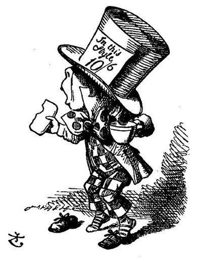 El Sombrerero, ilustración original de John Tenniel (1869)