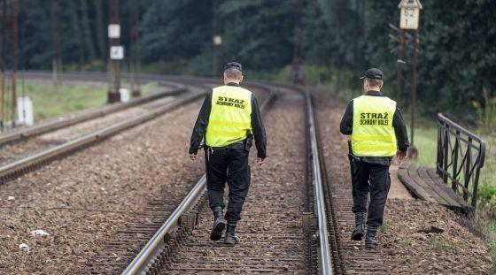 Policías polacos participan en la búsqueda del tren en Walbrzych (Polonia) el 4 de septiembre