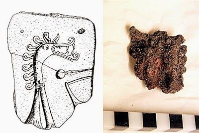 Cabeza de dragón de bronce encontrada durante las excavaciones en Birka