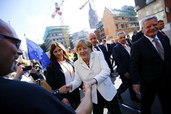 Angela Merkel y Joachim Gauck durante las celebraciones de la reunificación del 3 de octubre