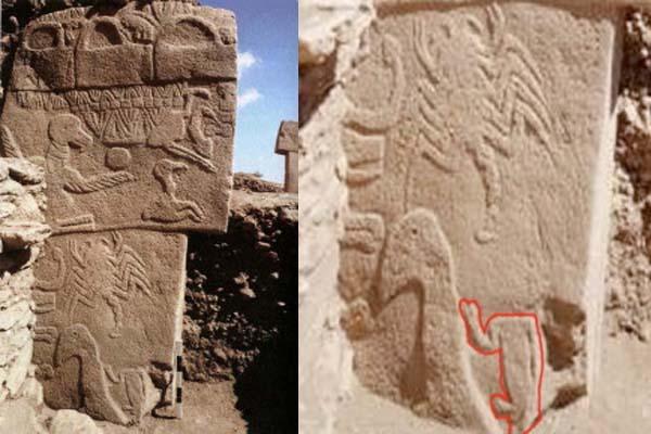 Pictograma más antiguo hallado en Gobekli Tepe. Crédito: Museo de Sanliurfa.