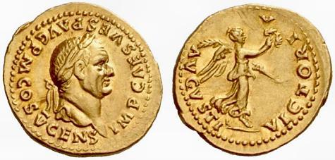 Moneda de Vespasiano.