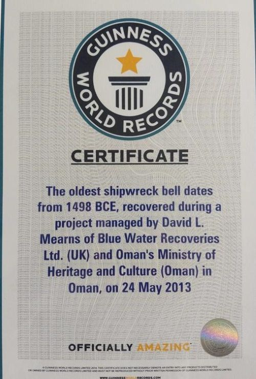 certificado guinness records campana