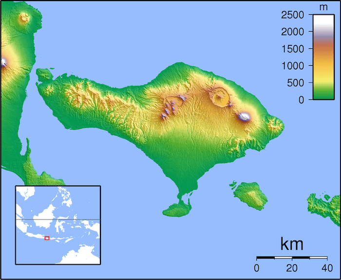 mapa de bali indonesia