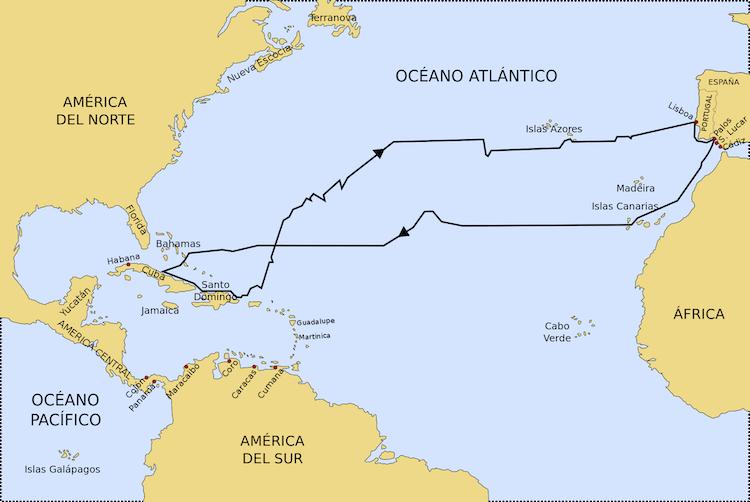 ruta primer viaje colon