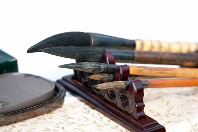 pinceles tradicionales pintura china