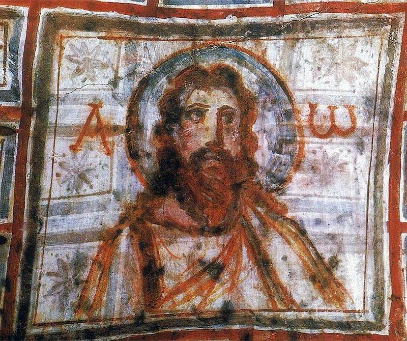 pintura mural de jesus arte paleocristiano