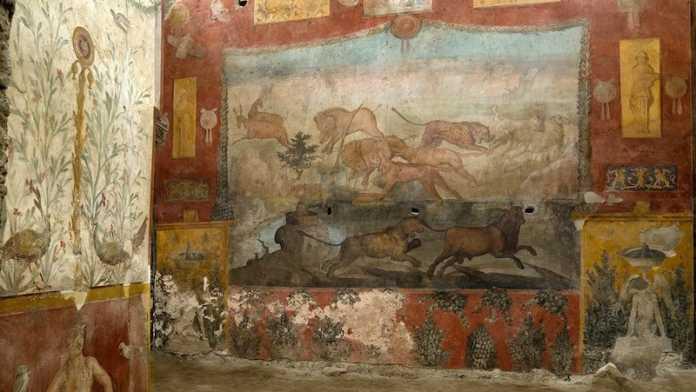 fresco restaurado en pompeya