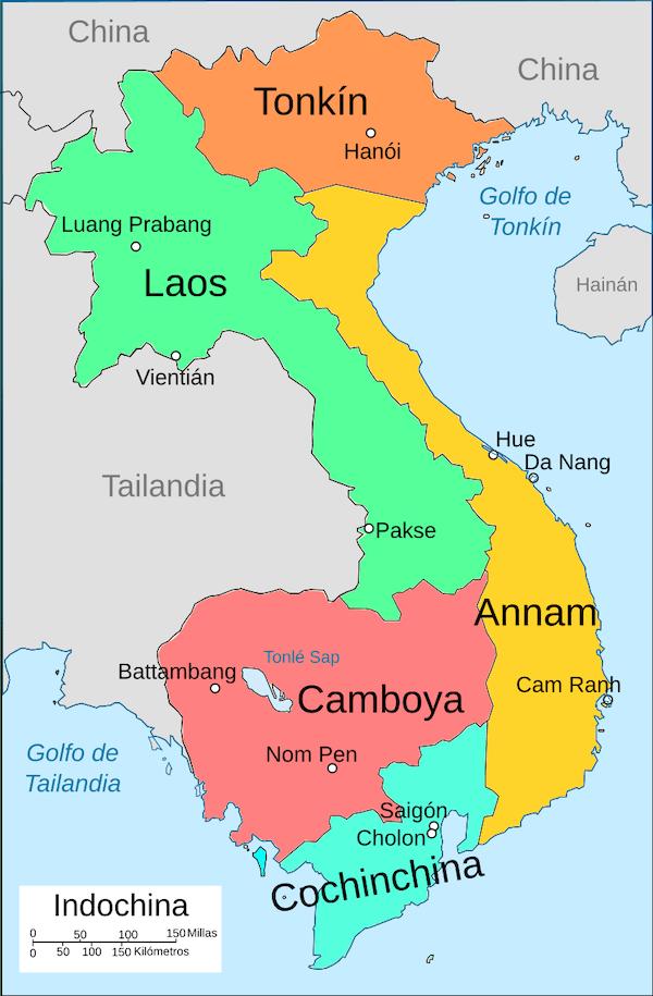 mapa indochina francesa